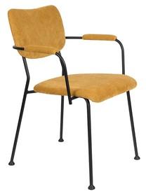 Krzesło z podłokietnikami BENSON - musztardowy