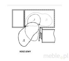 CORNER OPTIMA 2 Półki Do Szafki Narożnej 800x450 Lewe NERKA GRAFIT/CHROM - Rejs