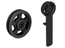 Prowadnice do drzwi RAN- komplet wózków do drzwi przesuwnych ROC DESIGN, czarny, kółka ażurowe - Valcomp