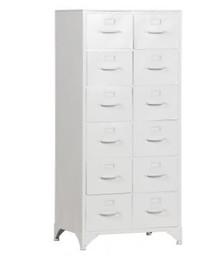 Szafka metalowa z szufladami - biały