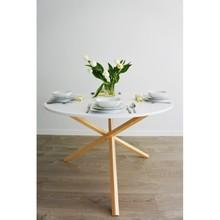 ST-TRIPLE-115 Okrągły, minimalistyczny stół z drewnem litym - fi115cm, Wykończenie: SIMPLE - biała płyta, stelaż naturalny