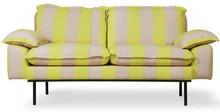 Sofa 2-osobowa RETRO - paski żółto-cieliste
