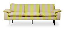 Sofa 3-osobowa RETRO - paski żółto-cieliste