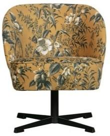 Fotel obrotowy VOGUE - aksamit musztardowy w kwiaty