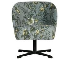 Fotel obrotowy VOGUE - aksamit szary w kwiaty