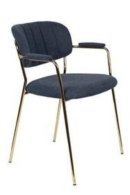 Fotel JOLIEN złoty/ciemno niebieski