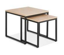 Zestaw dwóch stolików GLISS - naturlany/czarny