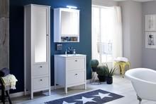 Zestaw mebli łazienkowych z wąską szafką OLE - biały mat