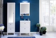 Szafka wisząca z lustrem i oświetleniem OLE - biały mat