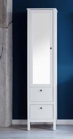 Słupek łazienkowy z lustrem OLE - biały mat