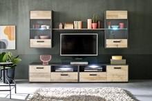 Zestaw mebli z oświetleniem MERLO - matera/drewno jasne