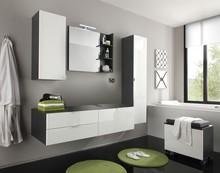 Zestaw mebli łazienkowych BEACH - biały połysk/szary