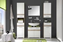 Zestaw mebli łazienkowych SET-ONE - biały połysk/san remo