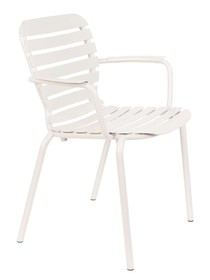 Krzesło ogrodowe z podłokietnikami VONDEL - biały