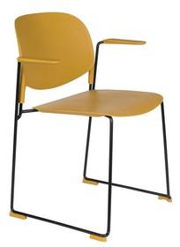 Krzesło z podłokietnikami STACKS musztardowy