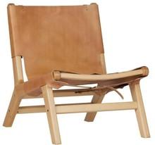 Fotel Buckle up skóra/drewno naturalny