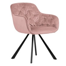 Aksamitne krzesło ELAINE - różowe