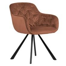 Aksamitne krzesło ELAINE - brązowe
