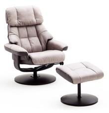 Fotel relax z podnóżkiem LIMERICK - jasny szary/grafit