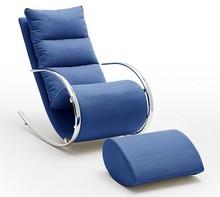Fotel z podnóżkiem YORK - niebieski