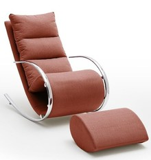 Fotel z podnóżkiem YORK - czerwony