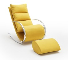 Fotel z podnóżkiem YORK - żółty