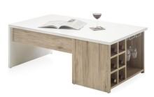 Stolik z półkami na wino MERLOT - biały/dąb san remo