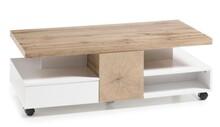 Stolik na kółkach z szufladami RENNES - biały mat/dąb