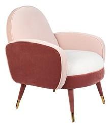 Fotel z podłokietnikami SAM - różowy/biały