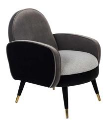 Fotel z podłokietnikami SAM - czarny/szary