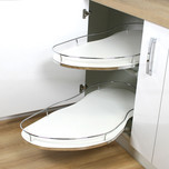 CORNER OPTIMA 2 Półki wysuwane do szafki narożnej ślepej 1000x600 lewa strona  Komplet zawiera dwie półki wysuwane niezależnie od siebie: * spody...