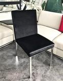 Krzesło Y 616  Wymiary : 94/45/47 cm  Materiał: stal nierdzewna polerowana/ welur   Dostępny kolor : czarny