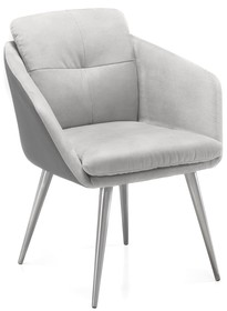 Krzesło z podłokietnikami EMILY - tkanina/ekoskóra szara