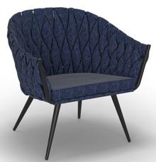 Fotel tapicerowany Neptun II stal lakierowana granatowy