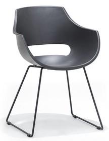 Krzesło na płozach ROCKVILLE K - szary/czarny mat