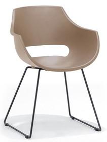 Krzesło na płozach ROCKVILLE K - taupe/czarny mat