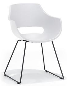 Krzesło na płozach ROCKVILLE K - biały/czarny mat