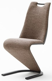 Krzesło tapicerowane VITORIA - tkanina cappuccino/ekoskóra szara