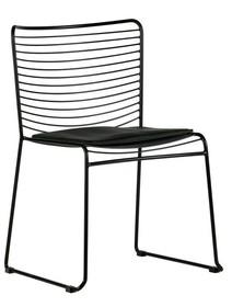 Krzesło metalowe z poduszką MUCK - czarne