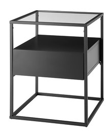 Stolik z szufladą EVORA 43x43 - czarny mat