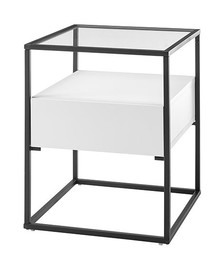 Stolik z szufladą EVORA 43x43 - biały mat