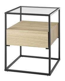 Stolik z szufladą EVORA 43x43 - dąb mat