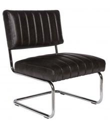 Fotel tapicerowany skórzany ASTRA Vintage - czarny