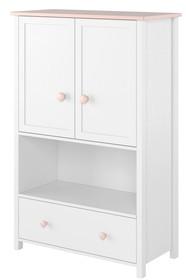 Wysoka komoda LUNA LN-11 - biały/różowy