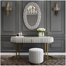 Toaletka z lustrem i pufą ELENA - szary