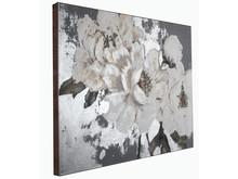 Obraz kwiaty KWH8085 90x120 cm - srebrny