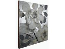 Obraz kwiaty KWH8079 120x120 cm - srebrny