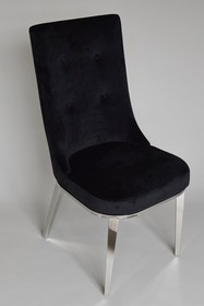 Krzesło klubowe welurowe CY6163 - czarny