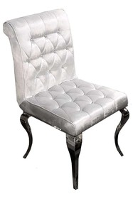 Krzesło welurowe pikowane FT174 - srebrny