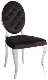 Krzesło welurowe z pikowanym oparciem FT83H - czarny